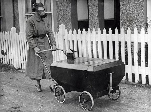 01 woman with a gas resistant pram england 19381