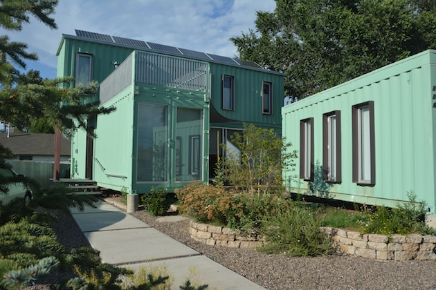 Six unit sustainable shipping container house 7