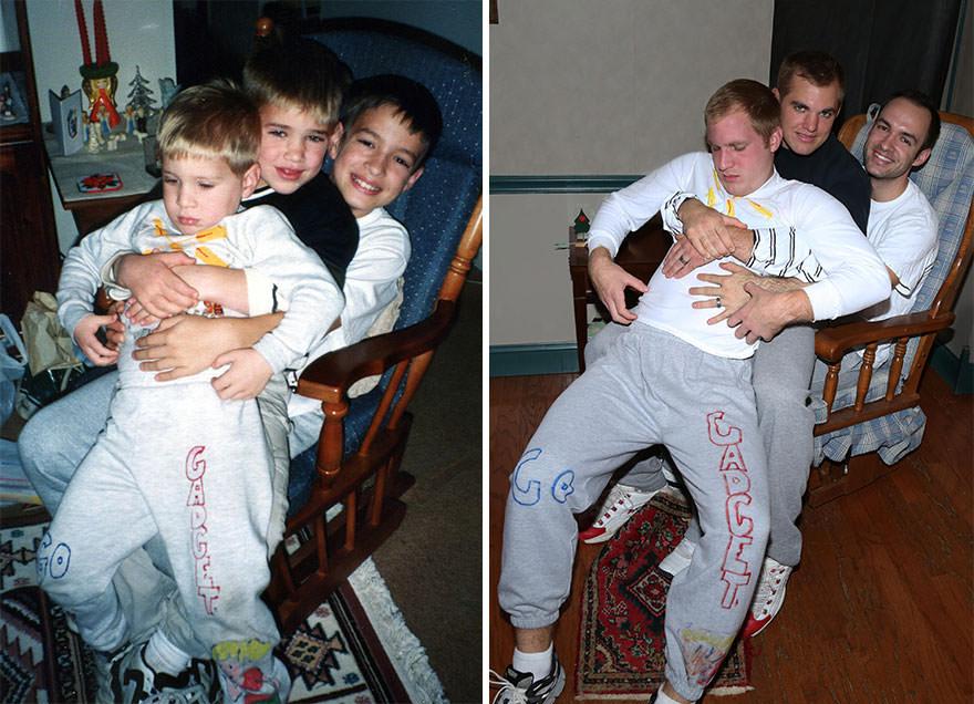 pour faire un cadeau leur maman trois fr res reconstituent leurs photos d 39 enfance les plus. Black Bedroom Furniture Sets. Home Design Ideas