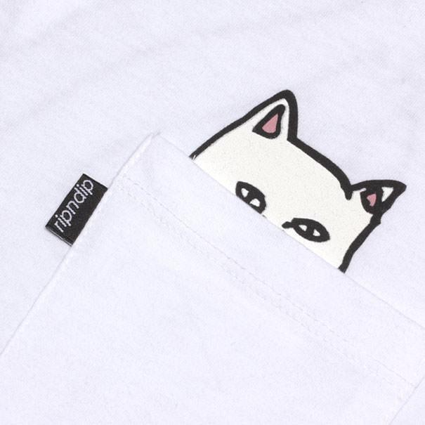 T shirt poche chat 3