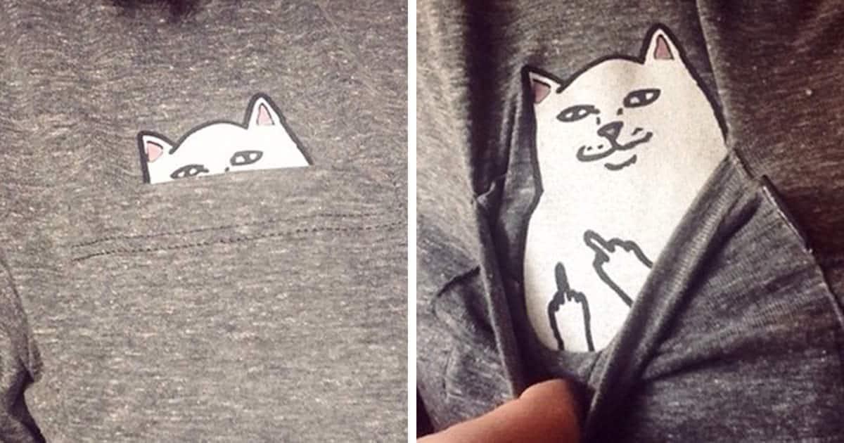 T shirt poche chat fb
