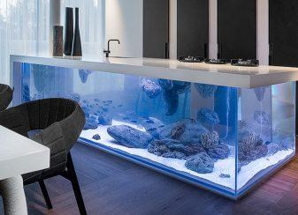 Ilot de cuisine aquarium