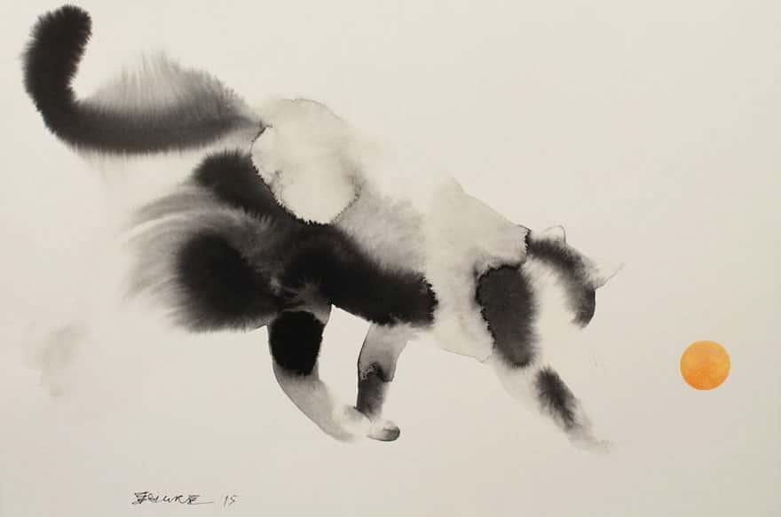 des chats en encre de chine et en aquarelle qui imbibent