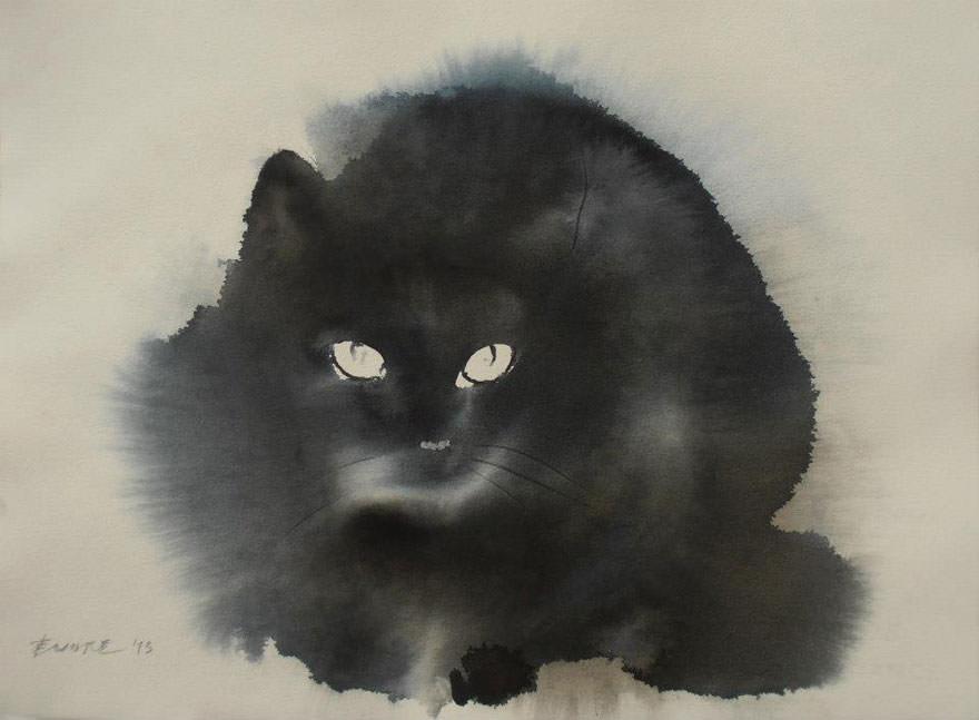Des chats en encre de chine et en aquarelle qui imbibent - Modele dessin chat ...