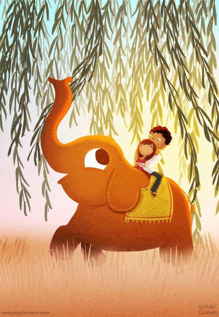 Illustration of couple riding elephant