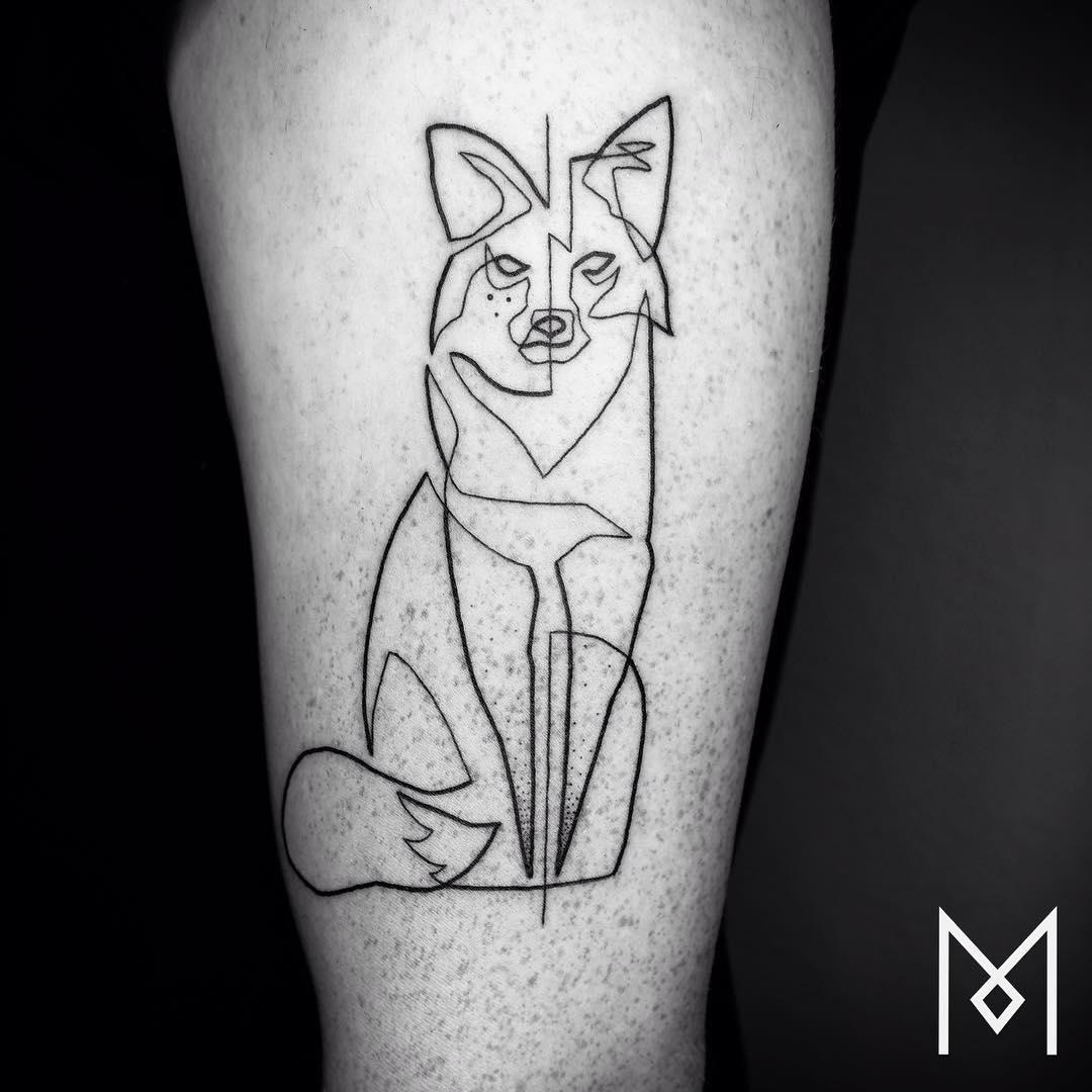 Line Art Animals Tattoo : Cet artiste crée des tatouages en une simple ligne