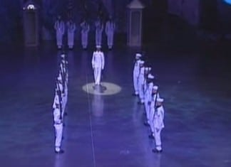 18 sailors stand like statues