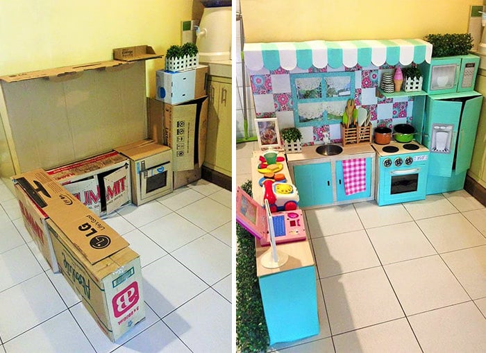 comment cr er une mini cuisine en carton pour votre enfant. Black Bedroom Furniture Sets. Home Design Ideas