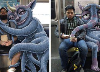 Un artiste ajoute des monstres f