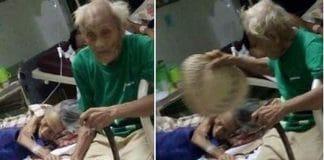 Ce vieil homme prenant soin f