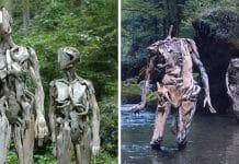 Les troublantes sculptures de bois f